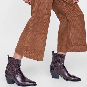Genuine Leather Animal Print Croc Ankle Boots SZ37